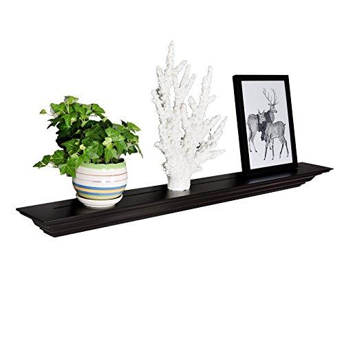 WELLAND Corona Wreath Molding Floating Wall Photo Ledge Shelves Fireplace Mantel Shelf (48-Inch, Espresso)