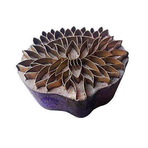 Hand Carved Printing Stamp Barss Lotus Designs Wood Pottery Block ()