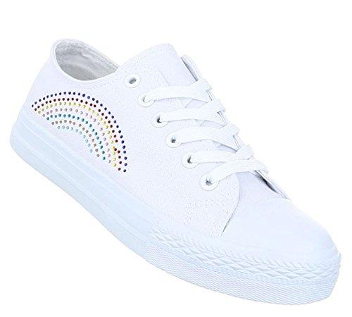Damen Freizeitschuhe Schuhe Sportliche Sneakers Turnschuhe Weiß