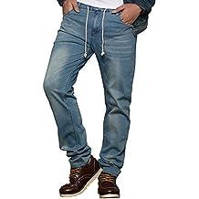 HEMIKS Men's Comfy Stretch Drawstring Elastic Waist Regular Fit Denim Jeans Pants