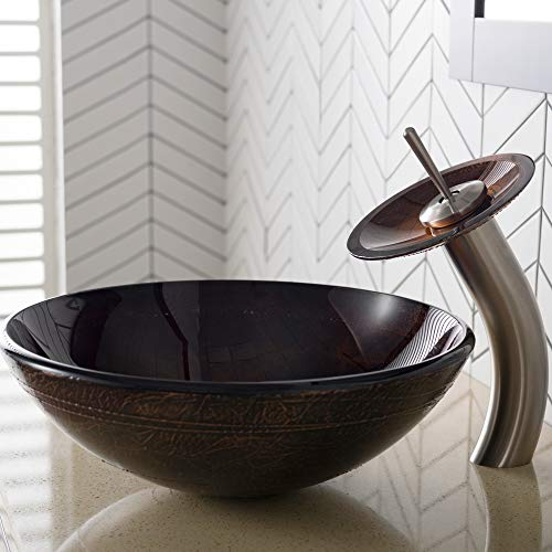 Kraus C-GV-580-12mm-10SN Copper Illusion Glass Vessel Sink and Waterfall Faucet Satin Nickel