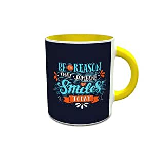 White and Yellow Ceramic Mug with Be The Reason Design 567