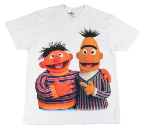 Sesame Street Bert and Ernie Together Men's White T-Shirt