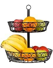Fruitmand voor de keuken, fruitschaal, fruitopslag, dataable fruitmand, standaard, opslag van groenten en fruit, voor de keuken, broodmand, voedselsnacks rek voor werkblad