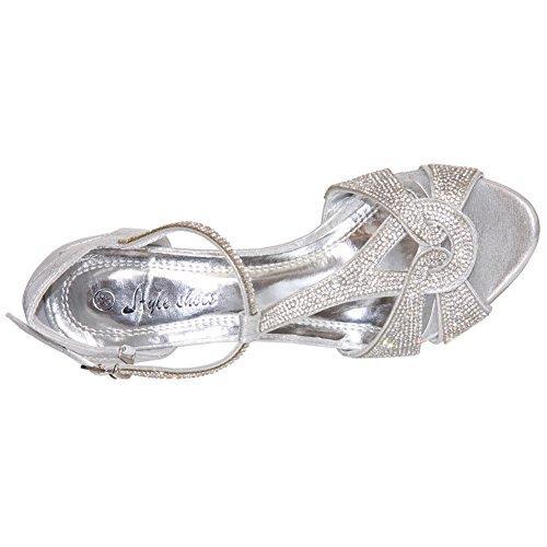 Unze Decorado con sandalias de moda para mujer 'Gerry' Plateado