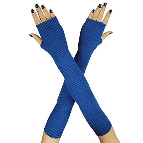 Farlenoyar Women Knit Cashmere Soft Winter Warm Gloves Arm Warmer Long Fingerless Gloves (Blue)
