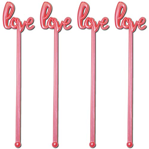 Royer Stir Sticks, Swizzle Sticks, Drink Stirrers in Love Script for Weddings, Bridal Showers, Valentines Day - Pearl Pink, 6 inch Plastic, Set of 48, Made in USA