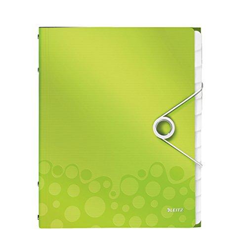 Leitz 46340064 Ordnungsmappe WOW, 12 Fächer, PP, grün metallic