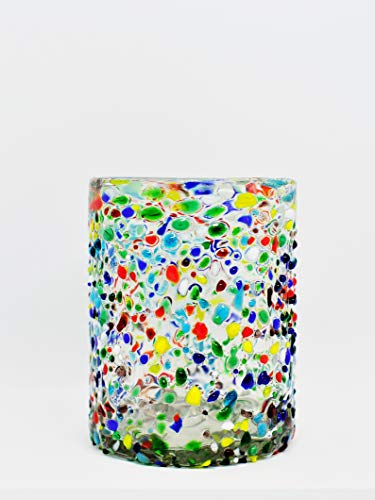 Mexican Blown Glass Tumblers Confetti Rocks (Set of ()