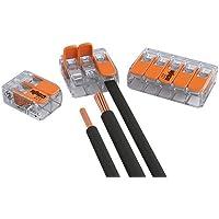 100er Set bornes de conexión Wago 50x 2 hilos 30x 3 hilos 20x 5 hilos con palanca 0,2-4 qmm diseño pequeño, transparente