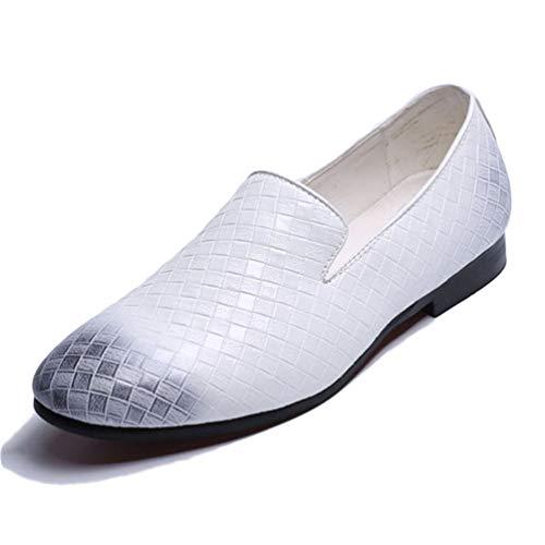 Scarpe in Maschili Slip Tessere Scarpe on Uomini Casual Mocassini Bianco Pelle Abito fqdBxE6Z
