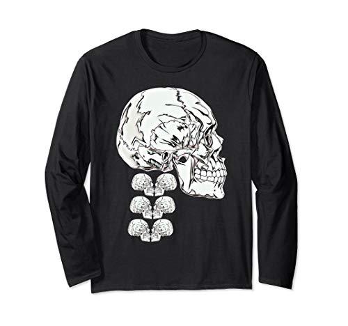Scary Knight Clothing Skeleton Anatomy Skull and Spine Long Sleeve T-Shirt