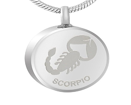 Zhane Memorial Jewelry Zodiac Birth Sign Collection Cremation Urn Ashes Pendant Stainless Steel Unisex (Scorpio)
