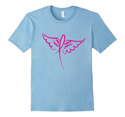 Mens Pink Awareness Ribbon Cancer Angel Wings Tshirt Medium Baby Blue