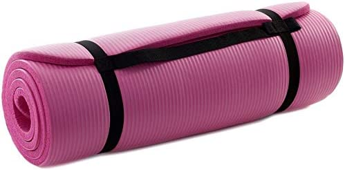 "Prosource Premium 1//2/"" Extra Thick 71/"" Long Black Yoga Exercise Mat with Straps"