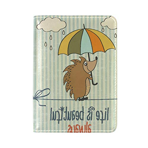 b28aea1650d5 Hedgehog Umbrella Leather Travel Passport Holder Cover Case Card Wallet  Elastic Band