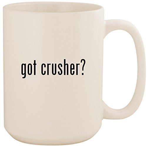 Heavy Duty Oil Filter Crusher - got crusher? - White 15oz Ceramic Coffee Mug Cup