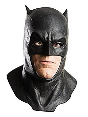 Dawn of Justice Batman Foam Latex Mask with Cowl, Black, One Size -