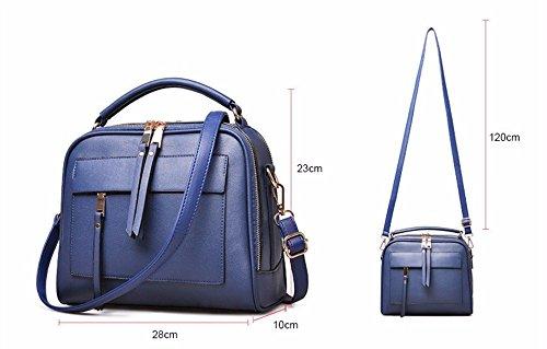 Elegante bolso de cuero bolso femenino único bolso de cuero simple de ocio de gran capacidad Bolsos Bolso con flecos, 28*10*23cm, Mae rojo Azul oscuro