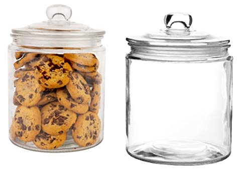 Set of 2 Glass Jar with Lid (2 Liter) | Airtight Glass Storage Container for Food, Flour, Pasta, Coffee, Candy, Dog Treats, Snacks & More | Glass Organization Canisters for Home & Kitchen | 68 Ounces