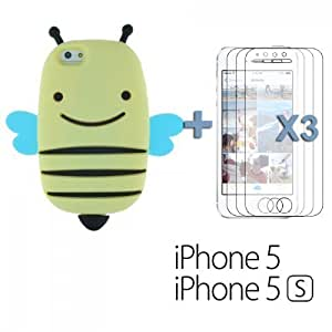 Bee Style 3D Soft Silicone For LG G3 Case Cover - Light Yellow with 3 Screen Protectors