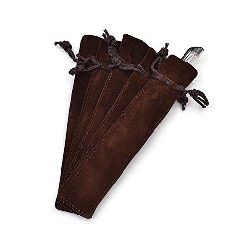 Crqes 5 Pcs Coffee Velvet Pen Pouch Sleeve Holder Single Pen Bag Case Pencil Bag