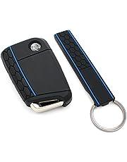 Finest-Folia Sleutelhoes + Keytag VB voor 3 toetsen autosleutel silicone cover (zwart blauw)