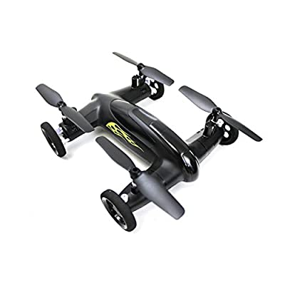 Syma X9 Flying Quadcopter Car Remote Control Car and Drone with Battery (Matte Black and Yellow Flames): Toys & Games