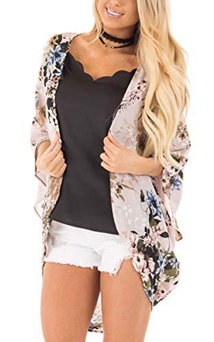 Floral Top Kimono (Hibluco Women's Floral Kimono Cardigan Long Blouse Sheer Shirt Loose Tops Swimwear)