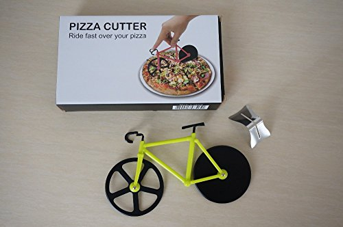 Checkout 1 Pcs/ Cutter Pizza Bicycle Shaped Two Cutting Wheels Great Gift (Yellow) occupation
