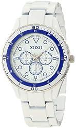 XOXO Women's XO5487 White Analog Bracelet with Blue Bezel Watch