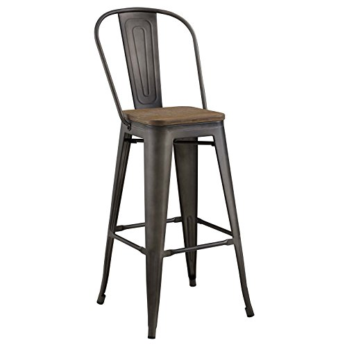 Modway Promenade Modern Aluminum Bistro Bar Stool With Bamboo Seat in Brown - Bamboo Kitchen Bar Stools