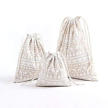 Amazon.com: Gift Bags Wrapping Supplies - 3pcs Creative Cotton Hemp Snowflake Xmas Tree Candy Drawstring Bag Gift Storage Bags Christmas: Home Improvement