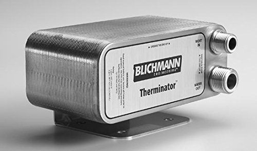 Blichmann Therminator, Beer Wort Chiller, Stainless Steel, 1/2'' Male NPT Fittings, 3/4'' male garden hose threads, Includes Back Flush Hose Assembly by Blichmann