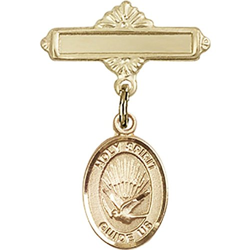 14kt Yellow Gold Baby Badge with Holy Spirit Charm and Polished Badge Pin 1 X 5/8 inches by Unknown