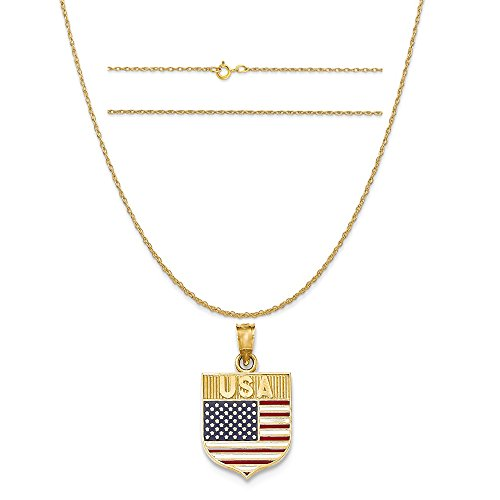 14k Yellow Gold American Flag (14k Yellow Gold Usa Flag Enameled Pendant on a 14K Yellow Gold Carded Rope Chain Necklace, 20