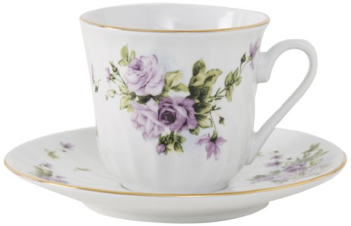 Vintage Floral Porcelain - Ciera Lucinda Porcelain Tea Cup and Saucer with Gold Trim, Set of 6; Vintage Floral