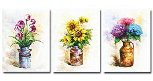 Hongwu Wall Arts Vase Flowers Oil Painting Morden Artwork Prints on Canvas Sunflower Tulip Hydrangea Floral in a Vase Pictures Stretched and Framed for Home Wall Decor 12x16inchx3panels