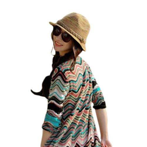 OKOKMALL US-Boho Lady Panama Colorful Women Striped Foldable Straw Hat Beach Summer Sun LC