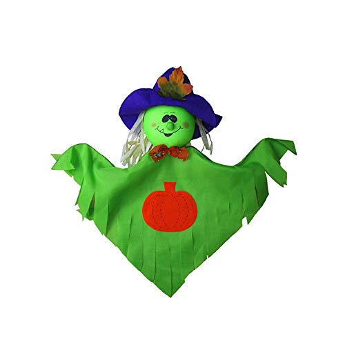 (Manakayla Halloween Hanging Ghost Windsock Spook Pumpkin Fly Witch Scarecrow Witch Doll Green)