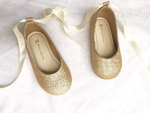 fdb509e6674b9 Amazon.com: Gold glitter shoes Girl flat shoes Glitter ballet flatt ...