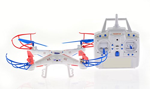 CIS-Associates Entry level Quadcopter with 1 Key Return & Headless Mode, White, 12