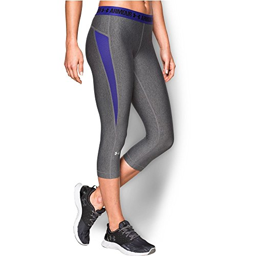 UPC 889362754383, Under Armour Women's HeatGear CoolSwitch Capri, Carbon Heather/Deep Orchid, Small