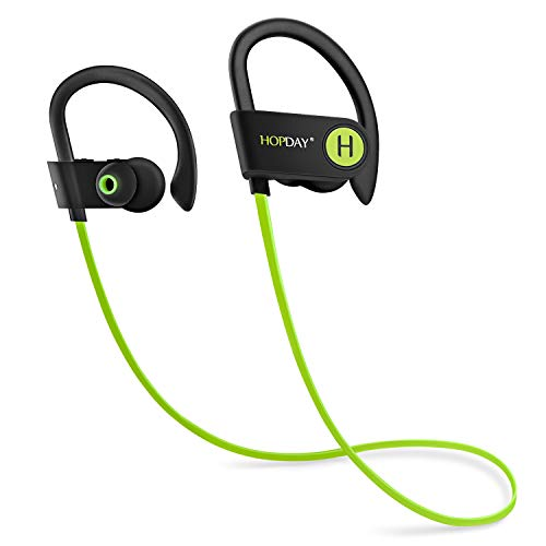 Bluetooth Headphones, HOPDAY Wireless Headphones in-Ear Earphones w/Mic Noise Cancelling Headsets Stereo Sound, IP68 Waterproof Sweatproof Sports Wireless Earbuds for Gym Running Up to 9 Hrs Playtime