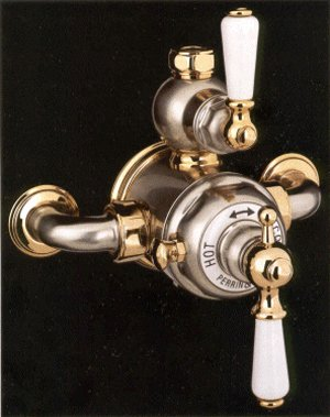 Rohl U.5550L-EB Perrin & Rowe Edwardian Exposed Thermostatic Mixer In English Bronze with Levers (Includes Both Porcelain And Metal Lever Inserts) P&R Expsd Therm Mxr Prc - Rowe Exposed Thermostatic Shower Mixer