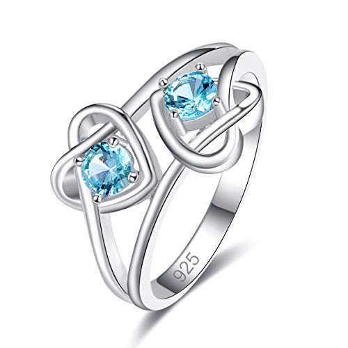 - Narica Women's 925 Sterling Silver Filled Round Cut Blue Topaz Promise Proposal Engagement Wedding Rings Size 8