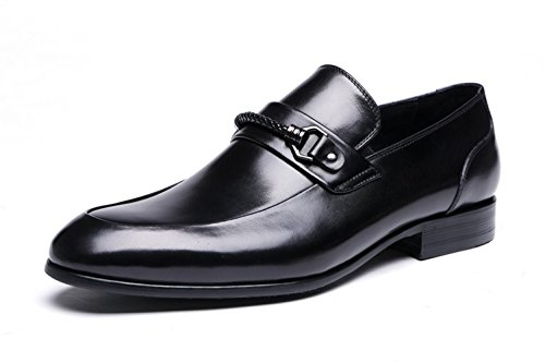 Santimon Mens Derby En Cuir Véritable Chaussures Oxford Noir
