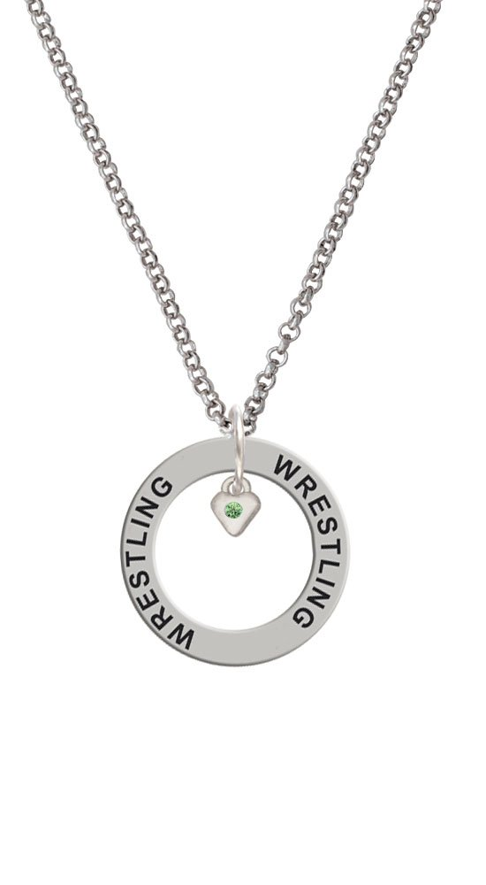 Mini August - Lime Green Crystal Heart - Wrestling Affirmation Ring Necklace