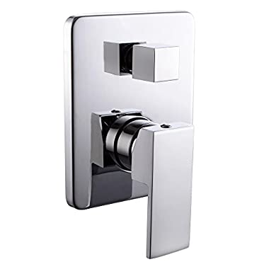 KES L6721 Bathroom Single Handle Mixing Valve Body and Trim with Two Function Diverter Square, Polished Chrome