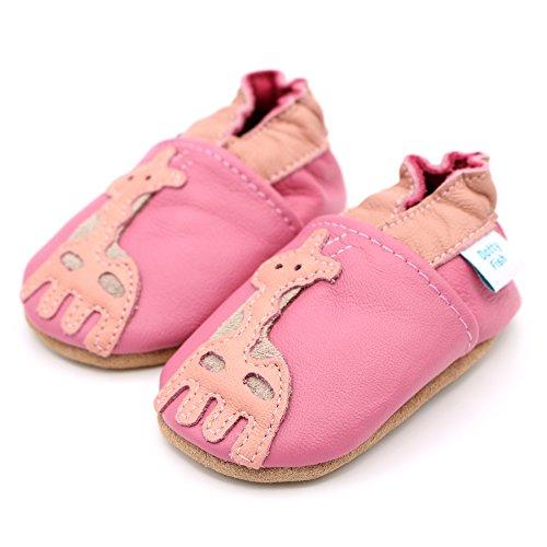 Dotty Fish - Zapatos de cuero suave para bebés - Niñas - Animales Jirafa rosada
